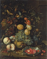 figs, plums, grapes, peaches, redcurrants and a pumpkin, with a lettuce leaf filled with wild strawberries by jan mortel