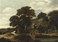a wooded river landscape with a farmyard and a dovecote by salomon rombouts