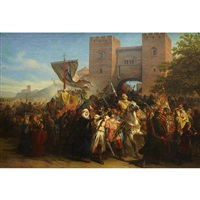 saint catherine of siena leading pope gregory xi back to rome by cesare felix georges dell' acqua