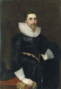 portrait of a gentleman in black with lace collar and cuffs, his right hand holding embroided gloves and resting on a table by anglo-flemish school (17)