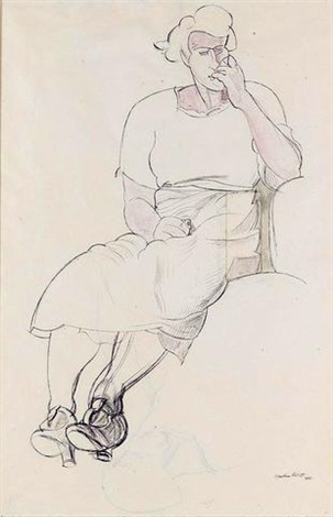 pensive woman by wyndham lewis