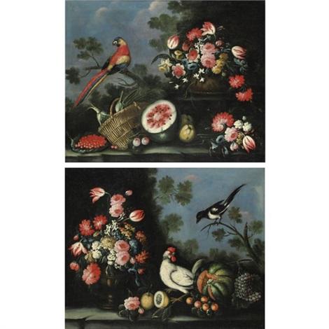 natura morta con fiori frutta e uccelli another pair by giuseppe pesci