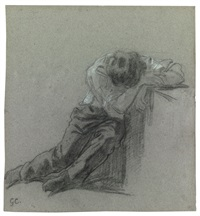 study of a man leaning on a ledge, his head resting on his arms by gustave courbet
