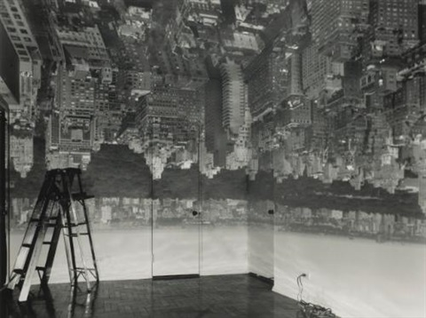 camera obscura image of manhattan looking west in empty room by abelardo morell