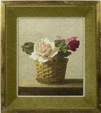 basket with two roses on a ledge, still life by patrick hennessy