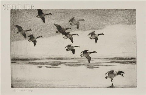 geese drifting down by frank weston benson