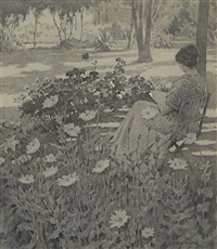 woman reading in the garden by elmer boyd smith