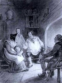country folk telling fireside tales by john phillips