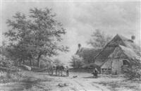 the wood gatherers before a cottage by georgius heerebaart