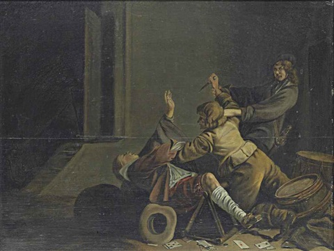 soldiers brawling in an interior by jacob duck