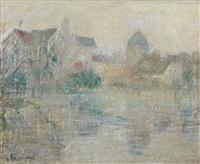vue de moret-sur-loing, brume by gustave loiseau