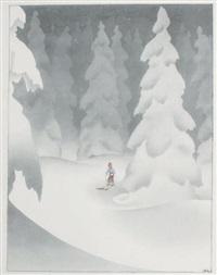 le skieur entre les grands sapins by samivel