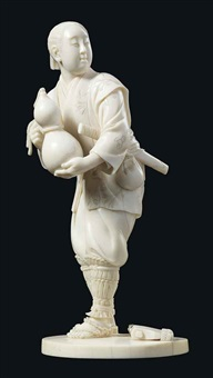 standing figure of a young samurai holding a double gourd, his haori decorated with ginko leaves by kodo
