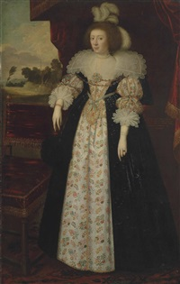 portrait of martha, countess of lindsey (1605-1641), full-length, in a brocaded silk petticoat and matching bodice with a black gown, two bands of scalloped fine linen and sleeve ruffles of bobbin lace, wearing feathers in her hair, holding an ostrich feat by anglo-flemish school (17)