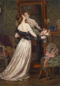 dame im boudoir vor dem spiegel by luma von flesch-brunningen