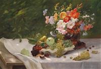 großes, dekoratives früchte- und blumenstillleben by alois zabehlicky