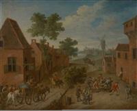 joueurs de quilles sur fond de paysage avec moulin by flemish school