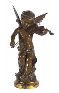 vioolspelend engeltje op rots by gaston veuvenot leroux