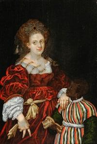 laura de diante, duchesse of ferrara (after titian) by abraham lambertsz jacobsz van den tempel