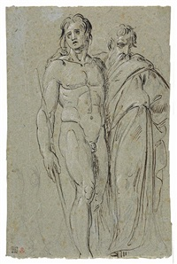 studio di due figure maschili, un ignudo e un profeta by annibale carracci