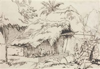water-carriers and other figures beneath a bridge (+ study of a thatched hut with figures and cattle in the foreground; 2 works) by george chinnery