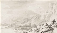 a rugged landscape with travellers on a coastal road by hendrick van der straaten