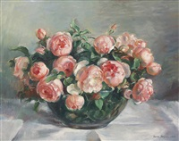 bowl of pink roses by nora heysen
