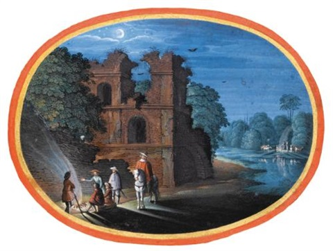 travellers gathered around a fire by a ruin in the moonlight by johann hans konig