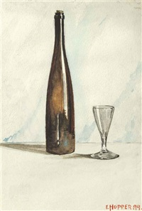 still life with wine bottle and glass by edward hopper
