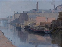 canal scene with barges by john bulloch souter