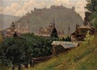 blick auf die dächer von salzburg, im hintergrund die festung by albin müller-rundegg
