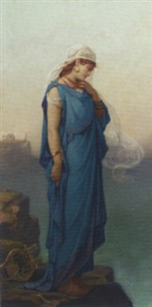 the poetess sappho in contemplation by louis hector leroux