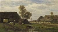 a farmyard scene by willem roelofs