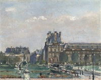 a view of the louvre, paris by otto b. de kat