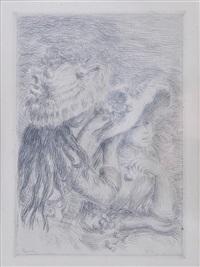 le chapeau epingle (la fille de berthe morisot et sa cousine), 3e planche (delteil 8) by pierre-auguste renoir