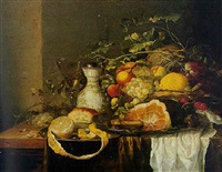 nature morte à la corbeille de fruits, jambon et verre de vin sur un entablement by laurens craen