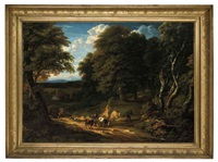 a wooded landscape with figures and cattle on a track by cornelis huysmans