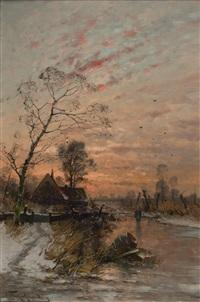 paysage hivernal au coucher du soleil by heinz flockenhaus