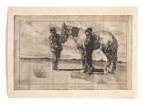 due figure e un cavallo by giovanni fattori