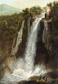 the waterfall at vetino, near terni by wilhelm kretzschmer