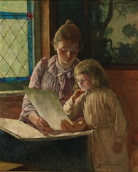 mother and child looking at a portfolio by jean mayne