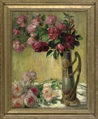 still life with roses in an ornate vase by theodore p. modra