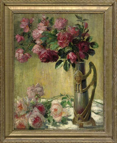 still life with roses in an ornate vase by theodore p modra