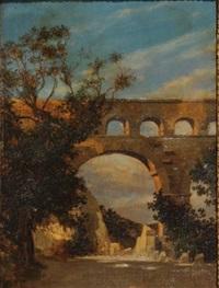 aqueduc dans un paysage italien by jules masuré