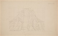 design for a mural with the adoration of an image of the madonna (+ 8 others; 9 works) by edward jakob von steinle