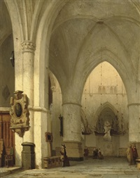 interior of the st. bavo, haarlem by jan jacob schenkel