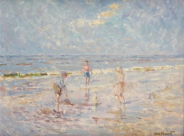 enfants à la plage by arie van noort