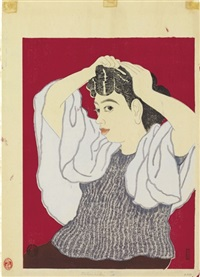 portrait of the artist's wife by tomikichiro tokuriki