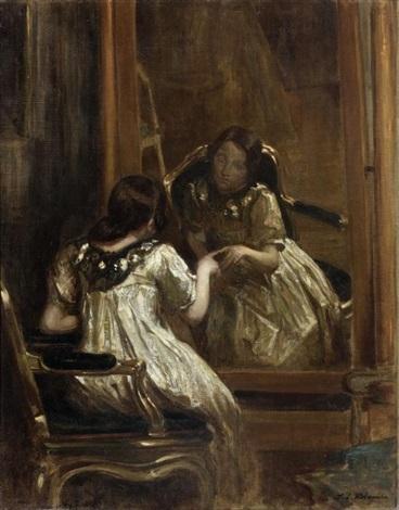 portrait de désirée manfred au miroir by jacques emile blanche