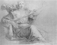 a seated woman, her left arm raised by louis galloche
